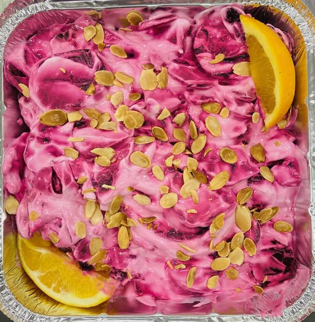 Beetroot,greek yogurt & roasted almond salad.