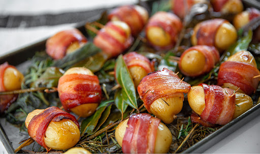 Baby potatoes wrapped in bacon