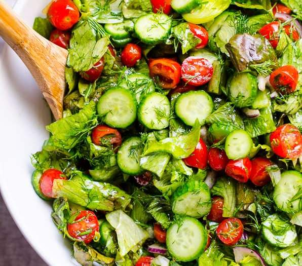 Mixed Leaves, Cucumber, Baby Tomato & Red Onion Salad