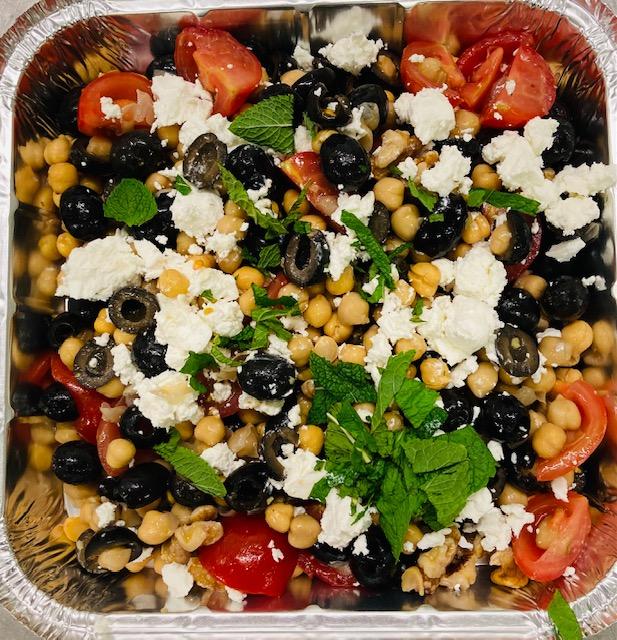 Chickpea, Goats Cheese, Hazelnut, Tomato & Olive Salad